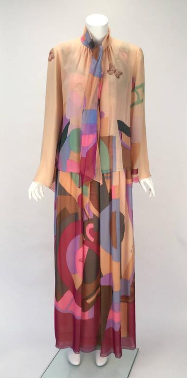 80s Hanae Mori Silk Multicolored Butterfly Print Three Piece Skirt Ensemble 5