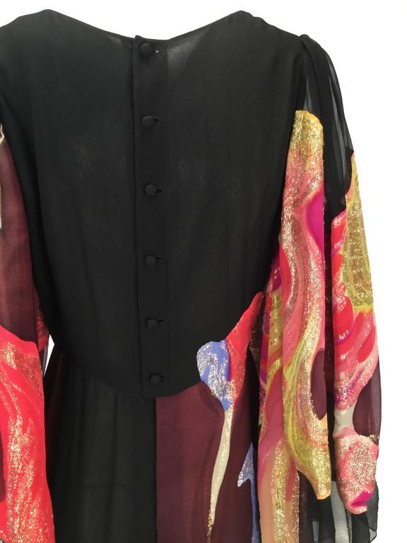 Exquisite 1970s Pauline Trigere Silk Multicolored Metallic Evening Dress 5