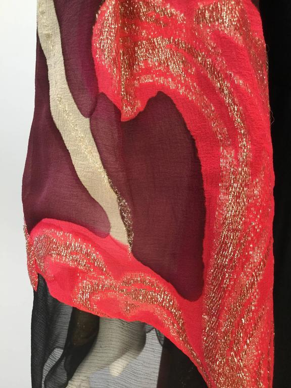Exquisite 1970s Pauline Trigere Silk Multicolored Metallic Evening Dress 6