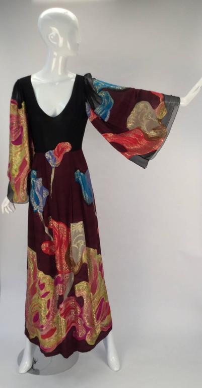 Exquisite 1970s Pauline Trigere Silk Multicolored Metallic Evening Dress 2