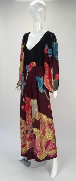Exquisite 1970s Pauline Trigere Silk Multicolored Metallic Evening Dress 3