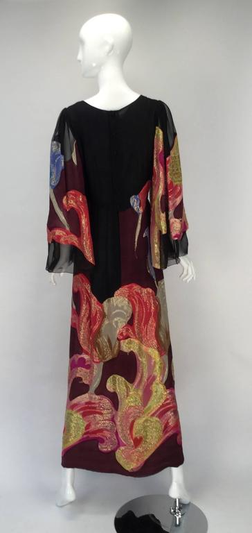 Exquisite 1970s Pauline Trigere Silk Multicolored Metallic Evening Dress 4