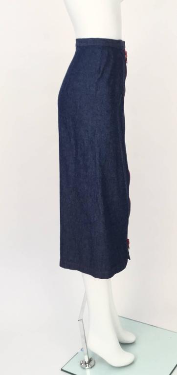 Black 1970s Geoffrey Beene Dark Wash Denim Midi Skirt  For Sale