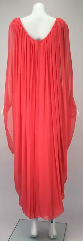 Red Victor Costa Coral Grecian Draped Chiffon Evening Dress, 1970s   For Sale