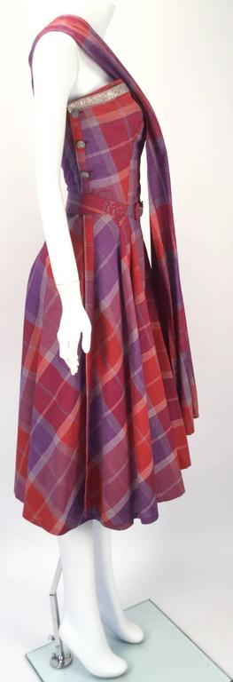 Women's 1940s Tina Leser Cotton Madras Dress With Sash For Sale