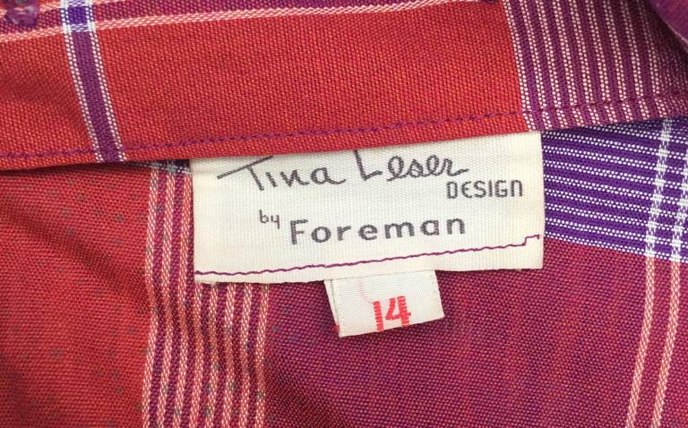 1940s Tina Leser Cotton Madras Dress With Sash For Sale 4