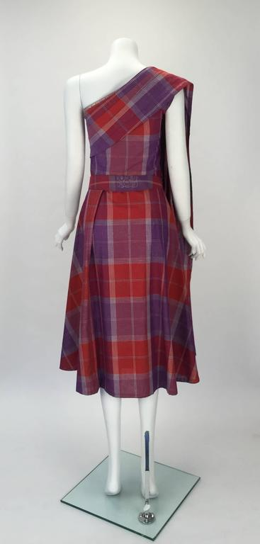 Brown 1940s Tina Leser Cotton Madras Dress With Sash For Sale