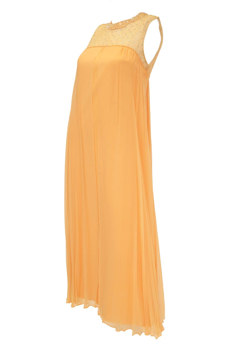 1960s Peach Crepe de Chine and Sequin Dress In Good Condition For Sale In Houston, TX