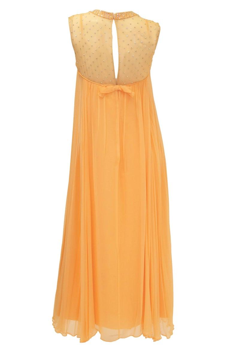 Women's 1960s Peach Crepe de Chine and Sequin Dress For Sale