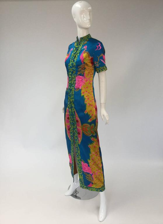 1960s Asian Satin Floral Dress 3