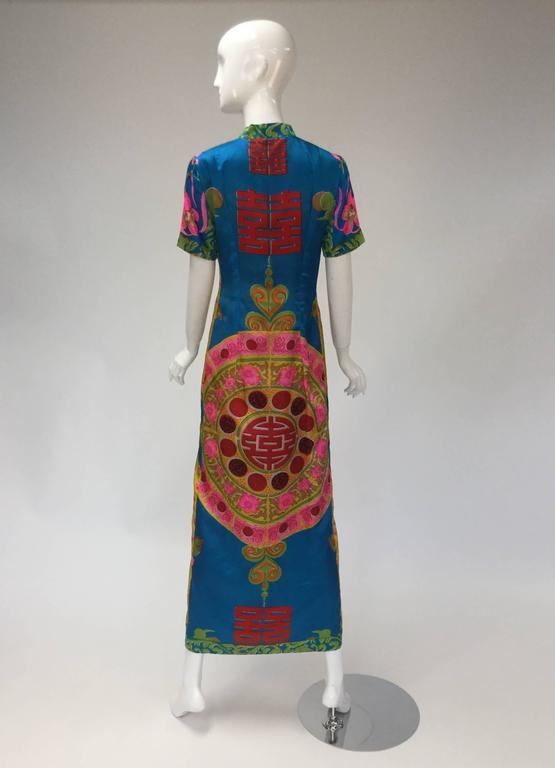 1960s Asian Satin Floral Dress 4