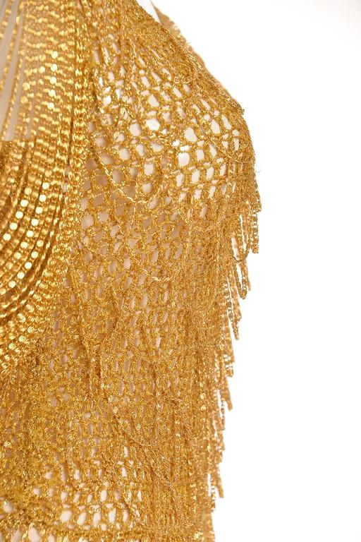 1970s Loris Azzaro Gold Beaded Knit Body Jewelry Sweater Blouse In Excellent Condition For Sale In Houston, TX
