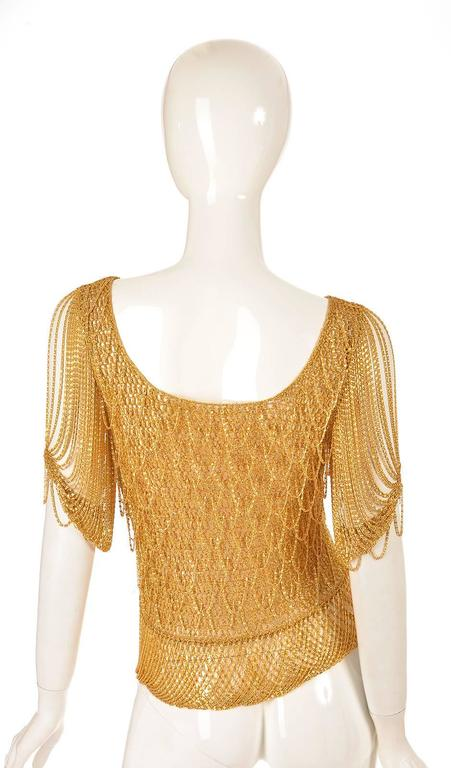 Brown 1970s Loris Azzaro Gold Beaded Knit Body Jewelry Sweater Blouse For Sale