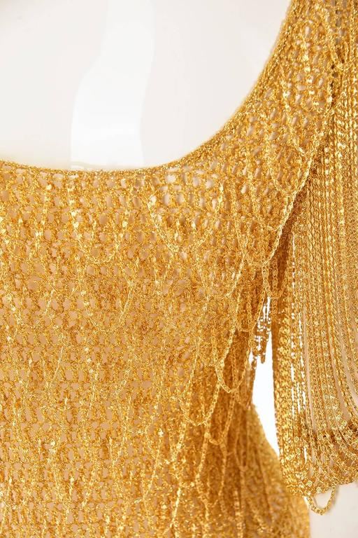 1970s Loris Azzaro Gold Beaded Knit Body Jewelry Sweater Blouse For Sale 1