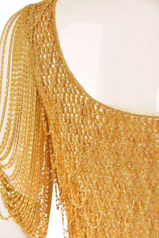 1970s Loris Azzaro Gold Beaded Knit Body Jewelry Sweater Blouse For Sale 2