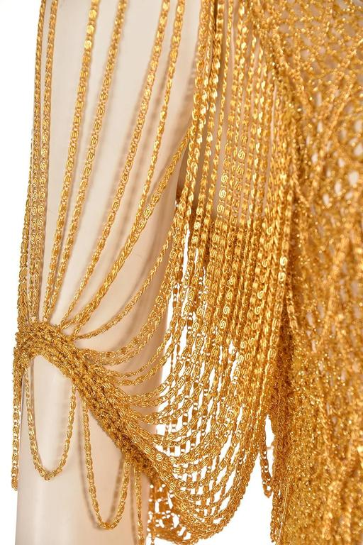 1970s Loris Azzaro Gold Beaded Knit Body Jewelry Sweater Blouse For Sale 3