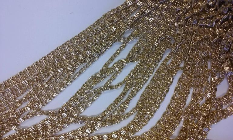 1970s Loris Azzaro Gold Beaded Knit Body Jewelry Sweater Blouse For Sale 5