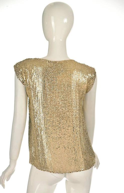 1970's Pierre Balmain Gold Sequined Blouse 3
