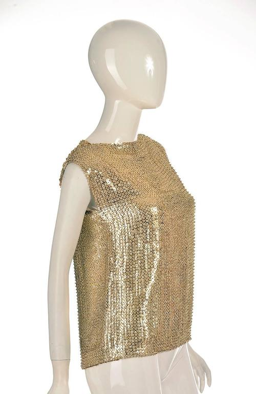 1970's Pierre Balmain Gold Sequined Blouse 2