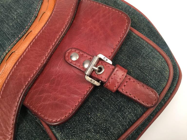 John Galliano Dior Denim Leather Double Gaucho Saddle Bag, 2009