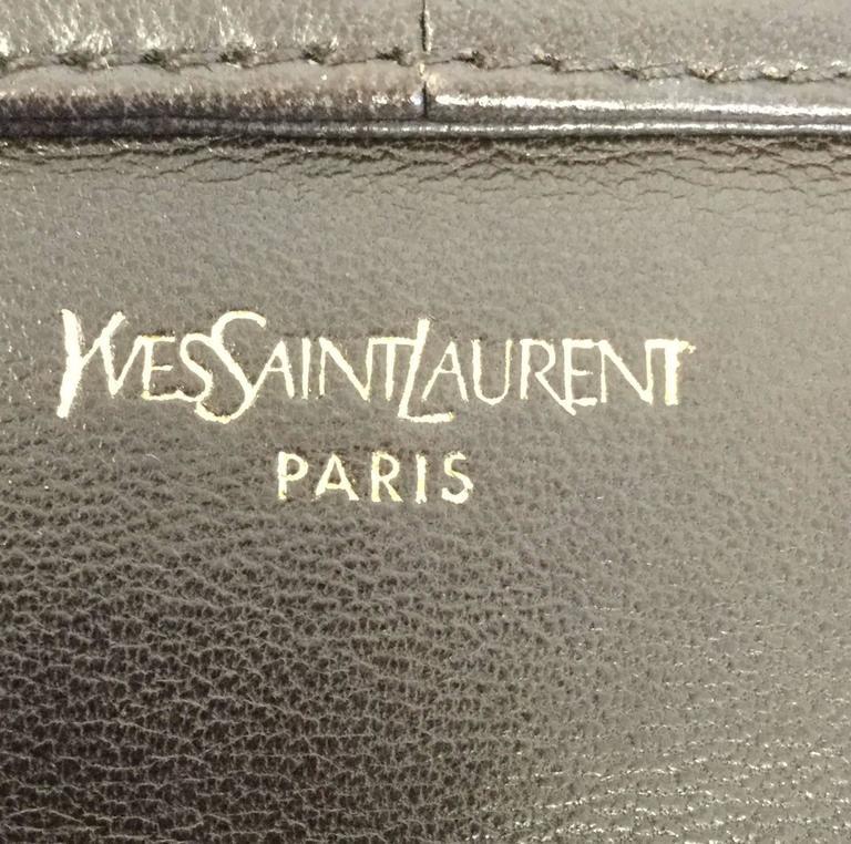 Yves Saint Laurent Vintage Chocolate Brown Leather Baguette Purse For Sale 3