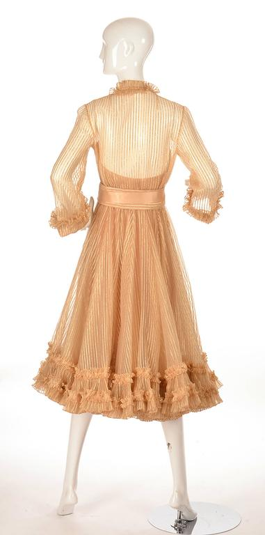 1973 Christian Dior Haute Couture Gold Cocktail Dress by Marc Bohan In Excellent Condition For Sale In Houston, TX