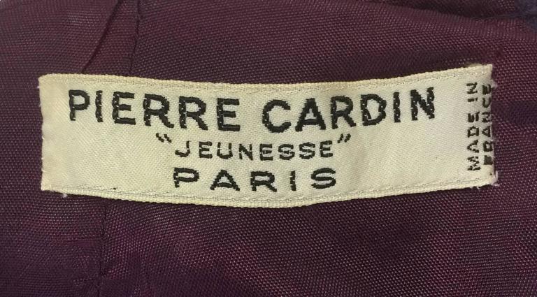 Rare1950s Pierre Cardin Wool Eggplant Purple Sheath Dress For Sale 1