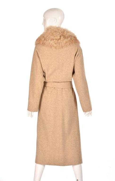 Bill Blass Camel Colored Wool and Fox Fur Coat, Late 1970s  In Excellent Condition In Houston, TX