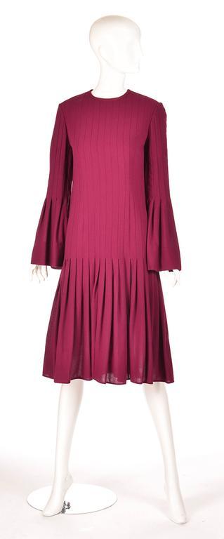 1960s Pierre Cardin Eggplant Purple Pleated Dress 4