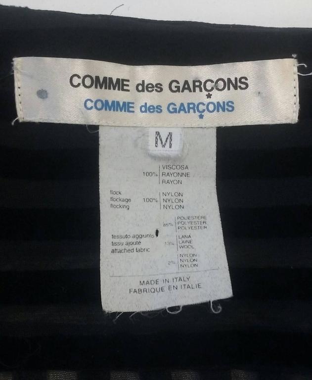 Comme des Garcons Junya Watanabe Velvet Striped Blouse, 1990s  For Sale 1