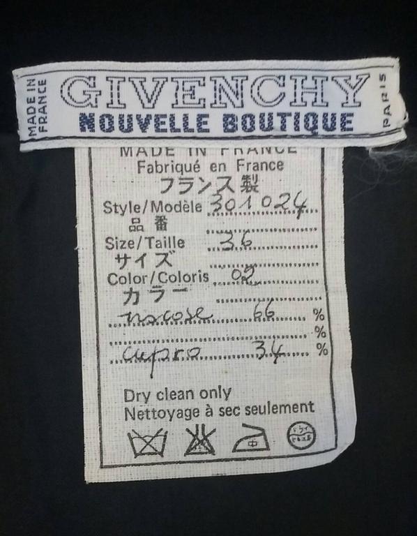 Givenchy Nouvelle Boutique Black Velvet Dress, 1970s  For Sale 3