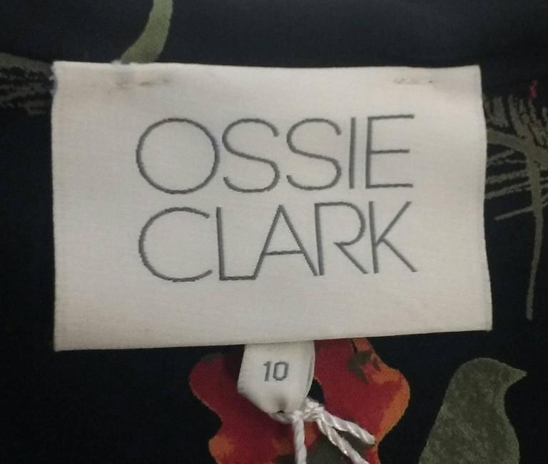 NWT 2008 Ossie Clark Black Silk Empire Feather Print Gown 8