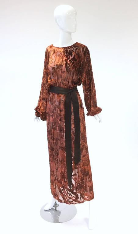 1970's Vintage Burnt Golden Brown Silk Burn Out Velvet Long dress In Excellent Condition For Sale In Houston, TX