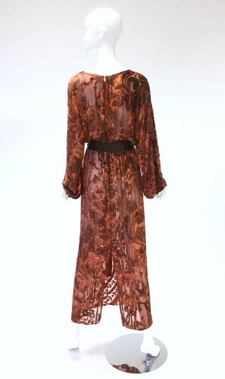 Women's 1970's Vintage Burnt Golden Brown Silk Burn Out Velvet Long dress For Sale