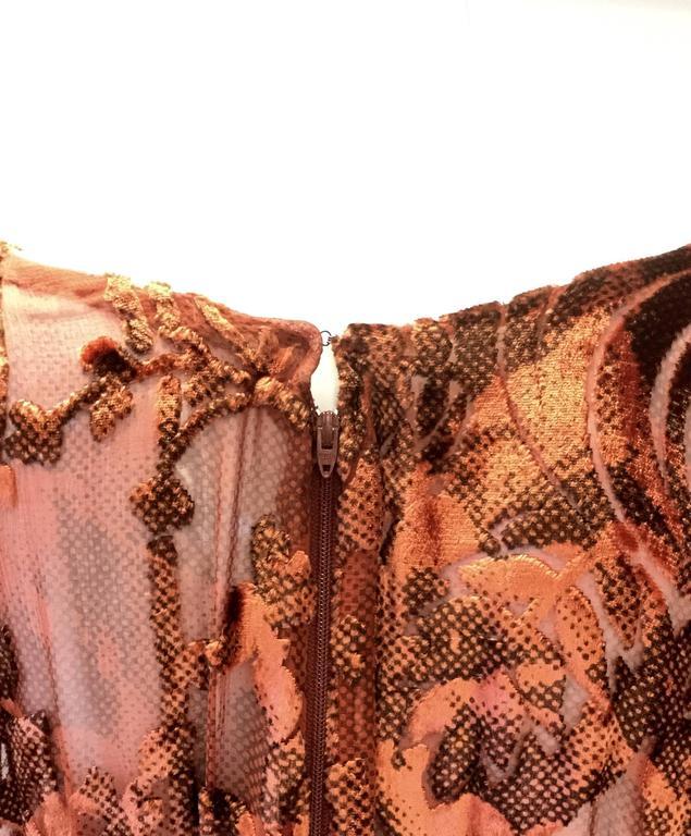 1970's Vintage Burnt Golden Brown Silk Burn Out Velvet Long dress For Sale 1
