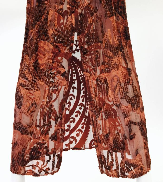 1970's Vintage Burnt Golden Brown Silk Burn Out Velvet Long dress For Sale 2
