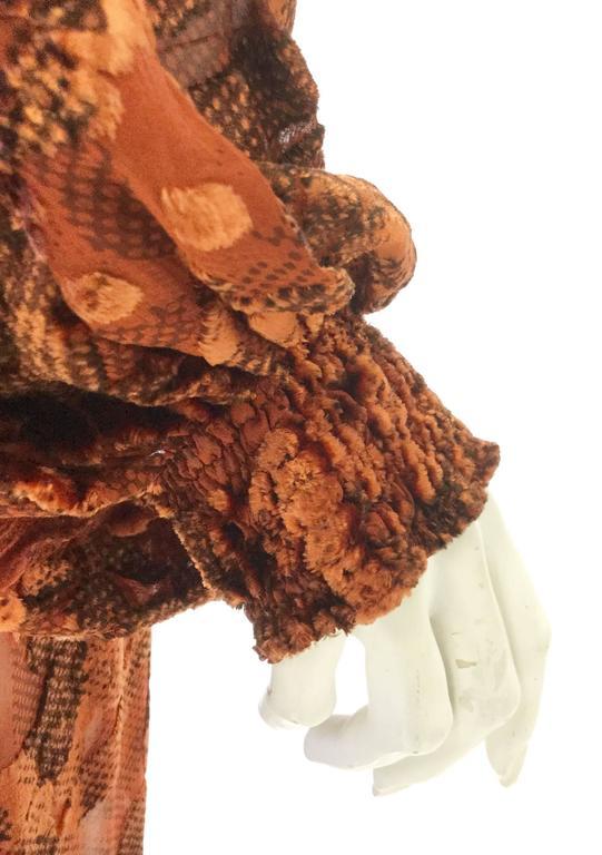 1970's Vintage Burnt Golden Brown Silk Burn Out Velvet Long dress For Sale 3