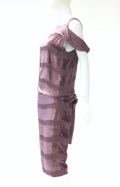 Gray Vintage Bottega Veneta Italian Violet Velvet Dress For Sale