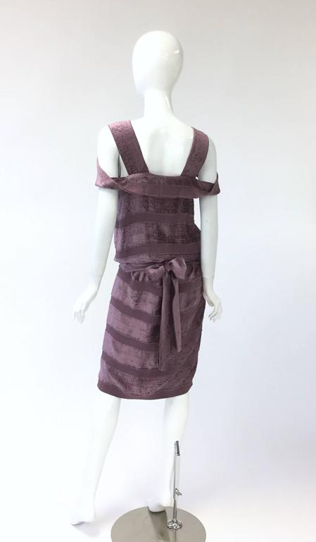 Vintage Bottega Veneta Italian Violet Velvet Dress In Excellent Condition For Sale In Houston, TX