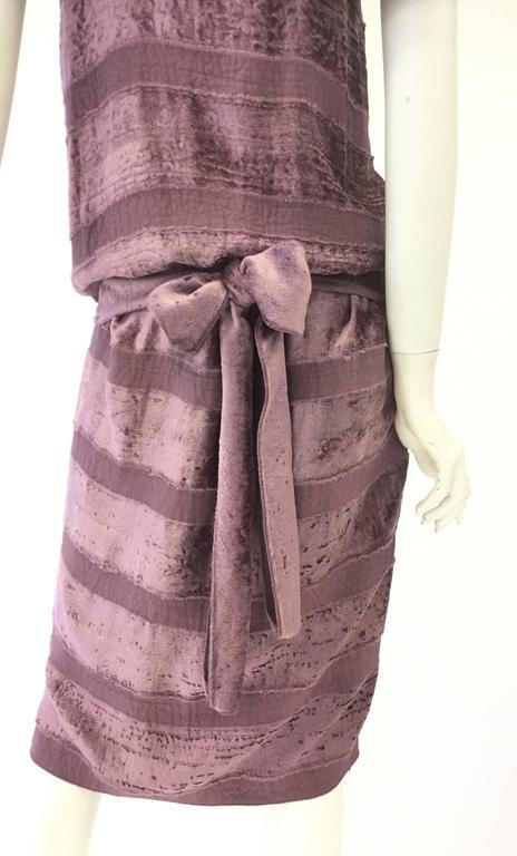 Vintage Bottega Veneta Italian Violet Velvet Dress For Sale 1