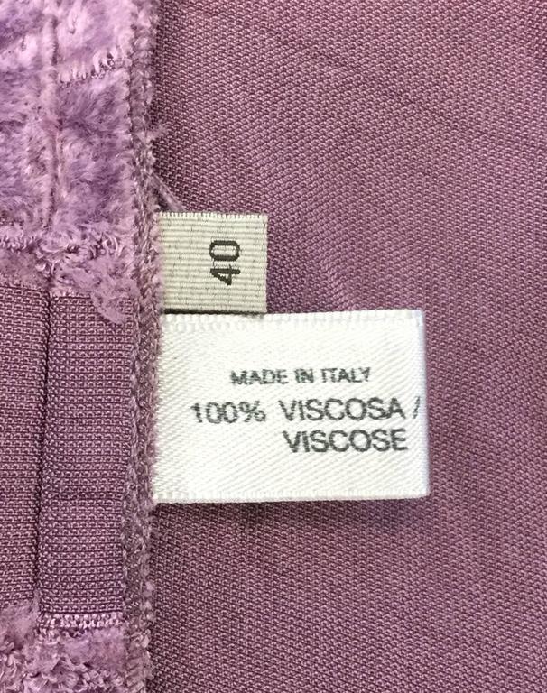 Vintage Bottega Veneta Italian Violet Velvet Dress For Sale 4