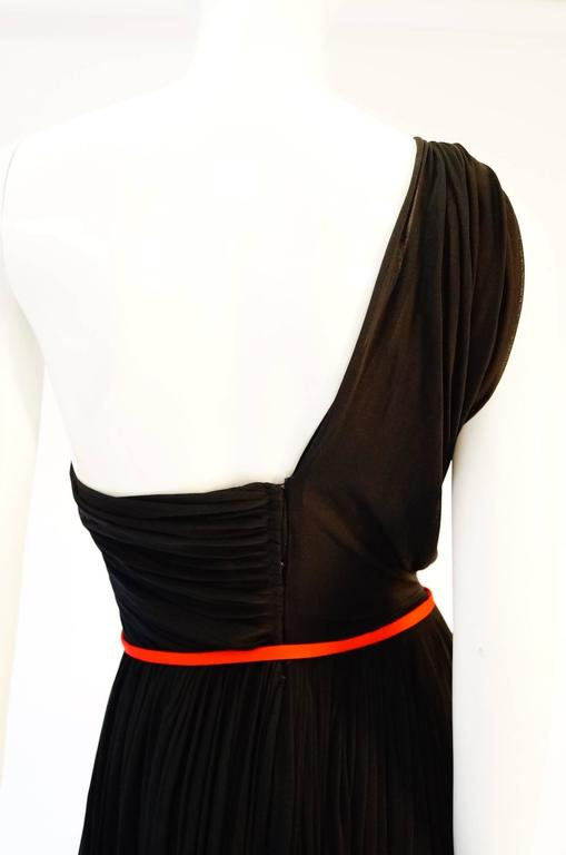 Important 1940s Madame Grès Grecian Goddess Silk Knit Gown in Black and Red For Sale 3