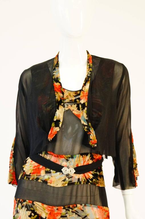 Brown 1920's Museum Piece Silk and Sheer Panel Floral Fluted Dress  For Sale