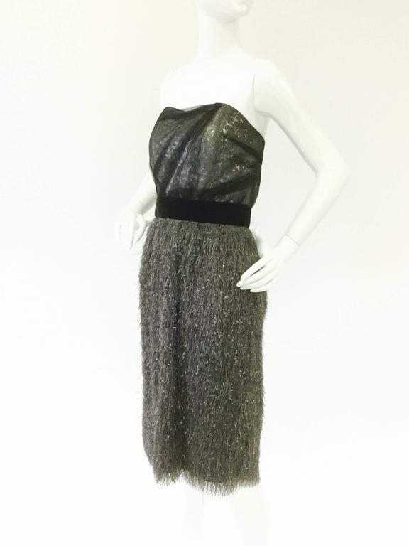Black Vintage Bill Blass Sequin Tassel Cocktail Dress For Sale