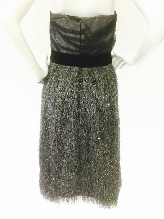 Vintage Bill Blass Sequin Tassel Cocktail Dress In Good Condition For Sale In Houston, TX
