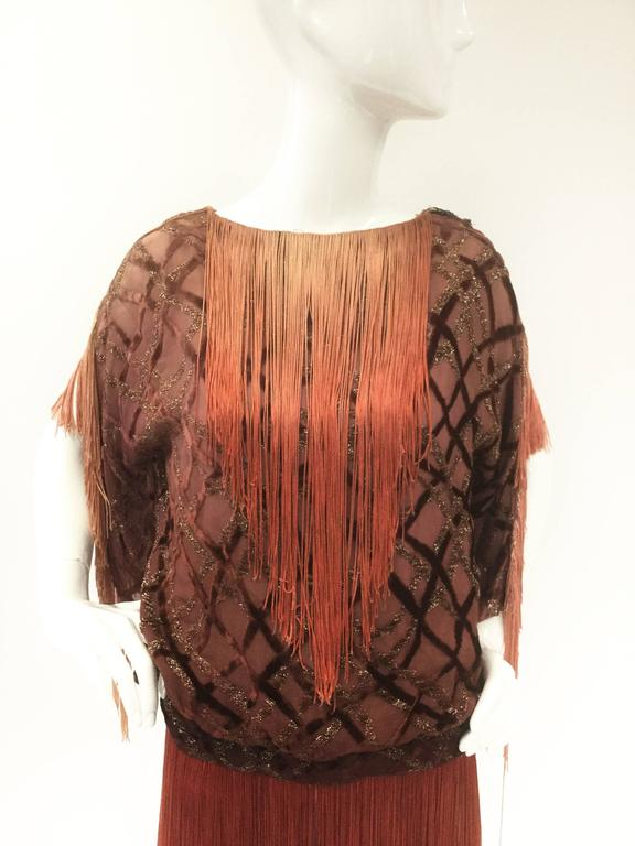 Flapper Velvet Lattice Ombre Fringe Tassel Tunic Dress, 1920s  2