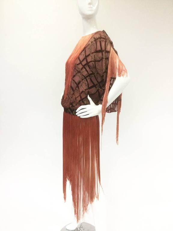 Flapper Velvet Lattice Ombre Fringe Tassel Tunic Dress, 1920s  3