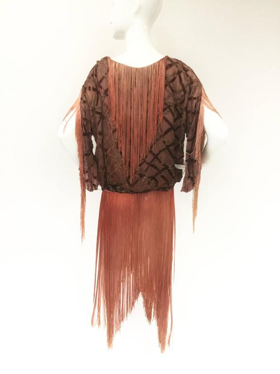 Flapper Velvet Lattice Ombre Fringe Tassel Tunic Dress, 1920s  4