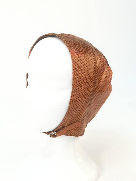 Brown Burnt Chestnut Snake Skin Hat / Cap / Helmet,  1970s  For Sale