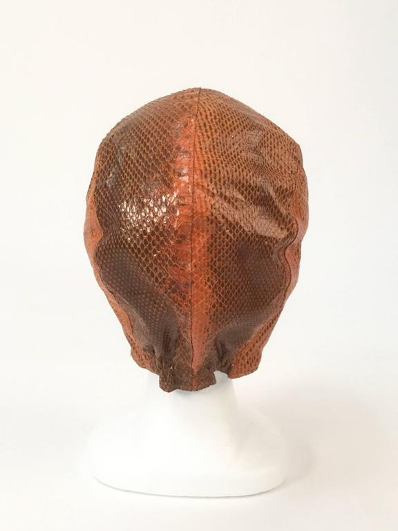 Burnt Chestnut Snake Skin Hat / Cap / Helmet,  1970s  In Good Condition For Sale In Houston, TX